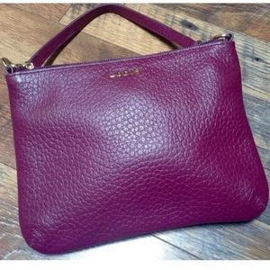 🎃LODIS burgundy pebble leather clutch